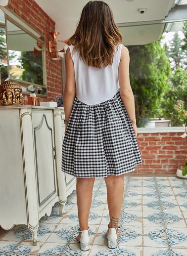 XHAN Eteği Kareli Elbise 9Yxk6-41279-04 Siyah
